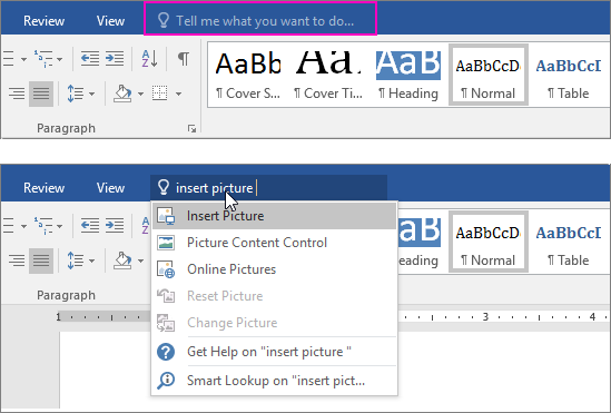 Tell Me Office 2016