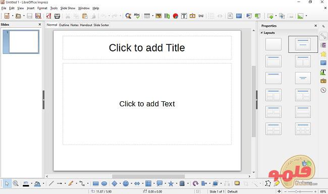 تصویری از محیط لیبره آفیس ایمپرس (LibreOffice Impress)