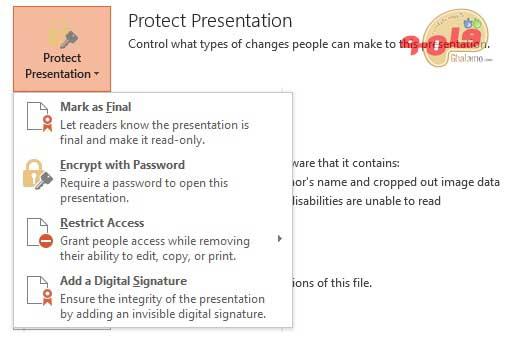 رمزگذاری فایل های پاورپوینت - منو فایل